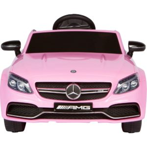 front of pink mercedes ride on car